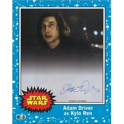 ADAM DRIVER # TO 10 BLUE AUTOGRAPHED OVERSIZED TRADING CARD