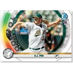A.J. Puk 2020 Bowman Baseball Bowman Scouts Top 100 Poster # to 99 found on Bargain Bro Philippines from Topps for $24.99
