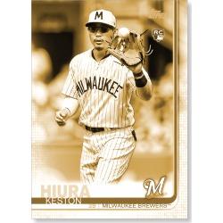 Keston Hiura 2019 Topps Baseball Update Series Short Printed Base Card Photo Variation Poster Gold Ed. # to 1