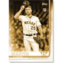 Corbin Martin 2019 Topps Baseball Update Series Short Printed Base Card Photo Variation Poster Gold Ed. # to 1