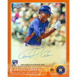 CARLOS CORREA AUTOGRAPHED '2015 TOPPS CHROME ROOKIE' 8X10 JUMBO CARD - ORANGE # to 25 found on Bargain Bro India from Topps for $399.99