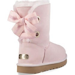 UGG Women's Customizable Bailey Bow Short Boot Suede In Seashell Pink, Size 8