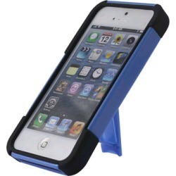 Reiko - Silicone Case Plus Protector Cover with New Type Kickstand for Apple iPhone 5 - Navy/Black