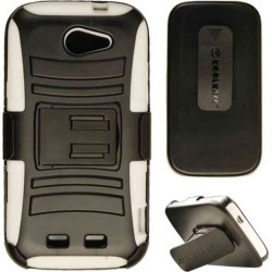 Cell Armor - Snap On Novelty Protector Case With holster for ZTE N9515 / Warp Sync - White Skin/Black