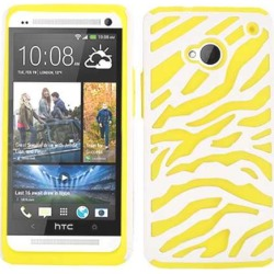 Cell Armor Hybrid Novelty Case for HTC One (Yellow Zebra on White)