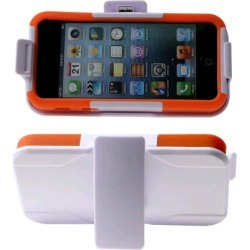 Reiko - Silicone Case Plus Protector Cover with Holster and Clip for Apple iPhone 5 - White/Orange