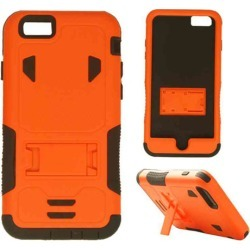 Cell Armor - Novelty Protector Case with Stand for Apple iPhone 6 - Orange and Black