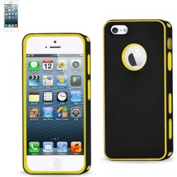 Reiko - PC/TPU Portable Light Protector cover for Apple iPhone 5 - Black/Yellow found on Bargain Bro India from Unlimited Cellular for $7.59