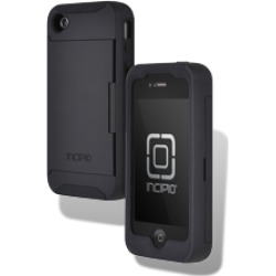 Incipio Stowaway Credit Card Hard Shell Case w/ Silicone Core for Apple iPhone 4G/4S - Black