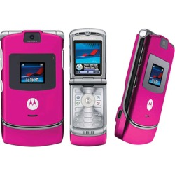 Pink - Motorola v3 Razr Cell Phone, GSM, Bluetooth, World phone - Unlocked