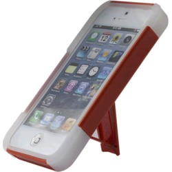 Reiko - Silicone Case Plus Protector Cover with New Type KickStand for Apple iPhone 5 - Orange/White
