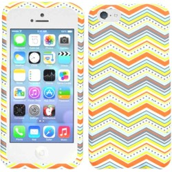 Unlimited Cellular Snap-On Protector Case for Apple iPhone 5C (Orange Yellow Blue Chevoron) found on Bargain Bro India from Unlimited Cellular for $5.99