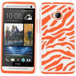 Cell Armor Hybrid Novelty Case for HTC One - Orange Zebra on White
