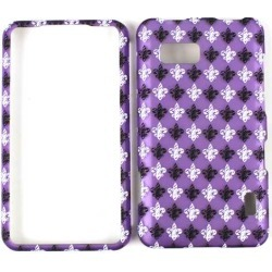 Unlimited Cellular Smooth Finish Cover Faceplate for LG LS860/Mach (Trans. Design/Black & White Fleur-De-Lis On Purple)