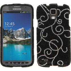 Cell Armor Full Diamond Snap-On Case for Samsung I9252/GS4Active/i537 (White Vines on Black)