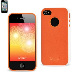 Reiko - Protector Cover PC Sides Plus TPU for Apple iPhone 4/4S - White/Orange