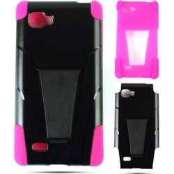 Unlimited Cellular Hybrid Fit On Jelly Case for LG Optimus 4X HD P880G (Hot Pink Skin and Black Snap w/Stand) found on Bargain Bro India from Unlimited Cellular for $6.19