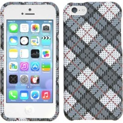 Unlimited Cellular Snap-On Protector Case for Apple iPhone 5C (White and Gray Plaid)