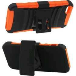 Reiko - Silicone Case Plus Protector Cover with Holster Kickstand for Apple iPhone 5 - Black/Orange