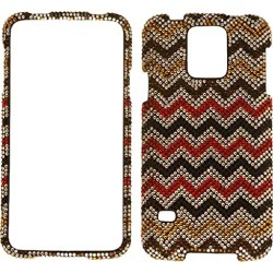 Cell Armor Snap-on Case Cover Samsung Galaxy S5 (Full Diamond Crystal Red/Black/White Chevron) - SAMGS5-SNAP-FD317 found on Bargain Bro India from Unlimited Cellular for $6.99