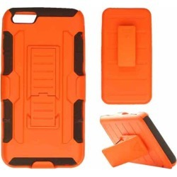 Cell Armor - Novelty Protector Case With Stand for Apple iPhone 6 Plus - Orange and Blac