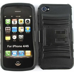 Unlimited Cellular Novelty Case for Apple iPhone 4/4S (Black Skin and Black Snap with Stand)