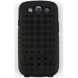 Unlimited Cellular Hybrid Novelty Case for Samsung Galaxy S3 (Black Skin with Black Snap w/Holes) found on Bargain Bro India from Unlimited Cellular for $6.19