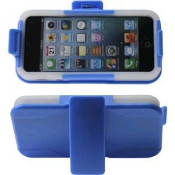 Reiko - Silicone Case Plus Protector Cover for Apple iPhone 5 - Navy/Clear