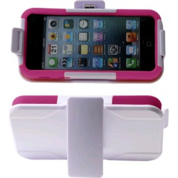 Reiko - Silicone Case Plus Protector Cover with Holster and Clip for Apple iPhone 5 - White/Hot Pink