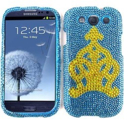 Snap-On Protector Case for Samsung Galaxy S3 (Full Diamond Crystal Yellow Crown on Blue) found on Bargain Bro India from Unlimited Cellular for $7.59