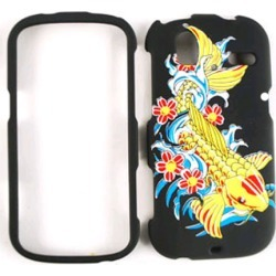 Cell Armor Snap-On Case for HTC Amaze - 3D Embossed Fish with Flowers on Black