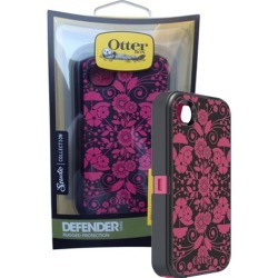 OtterBox - Defender Perennial Case for Apple iPhone 4/4S - Black/Peony
