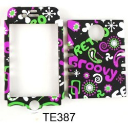 Cell Armor Rocker Series Snap On Case for Apple iPhone 4/4S (`Retro/Groovy/Peace` on Black)