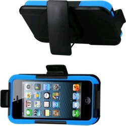 Reiko - Silicone Case Plus Protector Cover with Holster and Clip for Apple iPhone 5 - Navy/Black