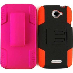 Novelty Protector Case for HTC One X (Red Skin/Black Snap/Pink Holster) found on Bargain Bro India from Unlimited Cellular for $6.79