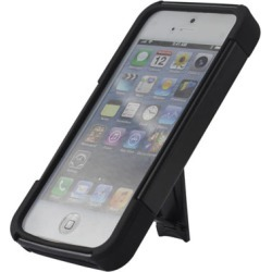Reiko - Silicone Case Plus Protector Cover with New Type Kickstand for Apple iPhone 5 - Black