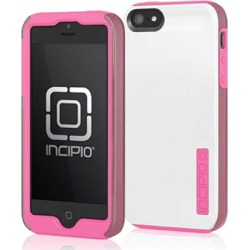 Incipio Dualpro Shine Hard Shell Case with Silicone Core for Apple iPhone 5 / 5S (Optical White / Pink)