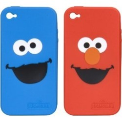 DreamGEAR Elmo and Cookie Monster 2 Pack Silicone Case for iPhone 4 - Red/Blue