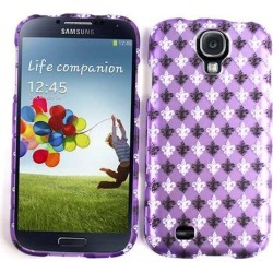 Unlimited Cellular Snap-On Case for Samsung Galaxy S4 (Trans. Design, Black & White Saints Logo On Purple)