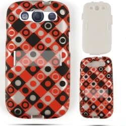 Cell Armor Hybrid Fit On Jelly Case for Samsung Galaxy S3 (Trans. Black/Red/White Dots in Squares) found on Bargain Bro India from Unlimited Cellular for $6.99