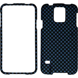 Cell Armor Snap-on Protective Case Cover Samsung Galaxy S5 (3D Embossed Blue/Black Checkers) - SAMGS5-SNAP-3D309