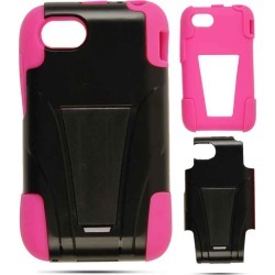 Cell Armor Hybrid Fit-On Jelly Snap Case for Blackberry Q5 - Magenta Skin/Black