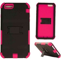 Cell Armor - Novelty Protector Case With Stand for Apple iPhone 6 Plus - Black and Pink