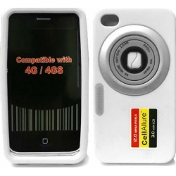 CellAllure Silicone Skin, White Camera for iPhone4