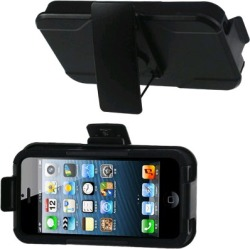 Reiko - Silicone Case Plus Protector Cover with Holster and Clip for Apple iPhone 5 - Black
