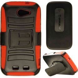 Cell Armor - Snap on Novelty Protector Case with Holster for ZTE N9515 / Warp Sync - Red Skin/Black