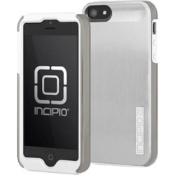 Incipio Dualpro Shine Hard Shell Case with Silicone Core for Apple iPhone 5 / 5S (Light Silver / Optical White)