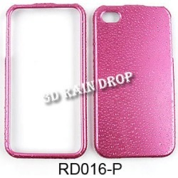 Cell Armor Snap On Case for Apple iPhone 4/4S (3D Rain Drop Design, Pink)