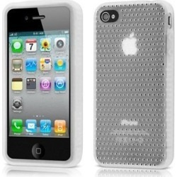 Griffin FlexGrip Punch Silicone Cover Case with Stand for Apple iPhone 4 (White) (Bulk Packaging)
