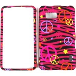 Unlimited Cellular Smooth Finish Cover Faceplate for LG LS860/Mach (Trans. Design, Colorful Peace Signs on Pink Zebra)